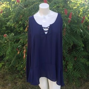 NWT Lane Bryant Lace Up Navy Blue Blouse 14/16